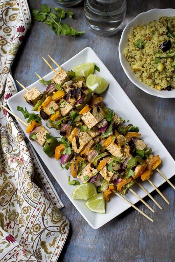 Grilled Tofu Tikka Kebabs