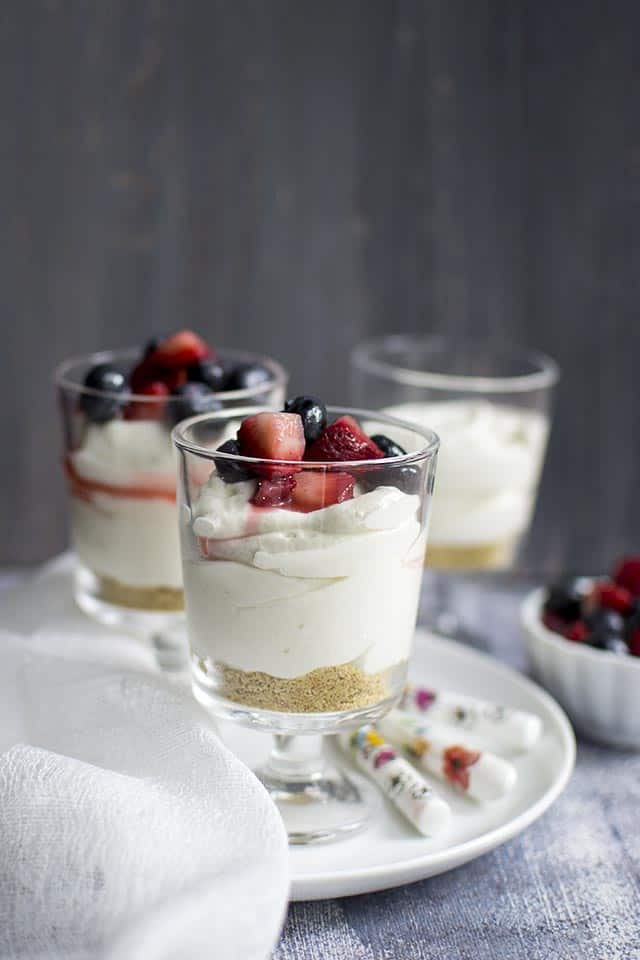 No-Bake Red, White & Blue Cheesecake