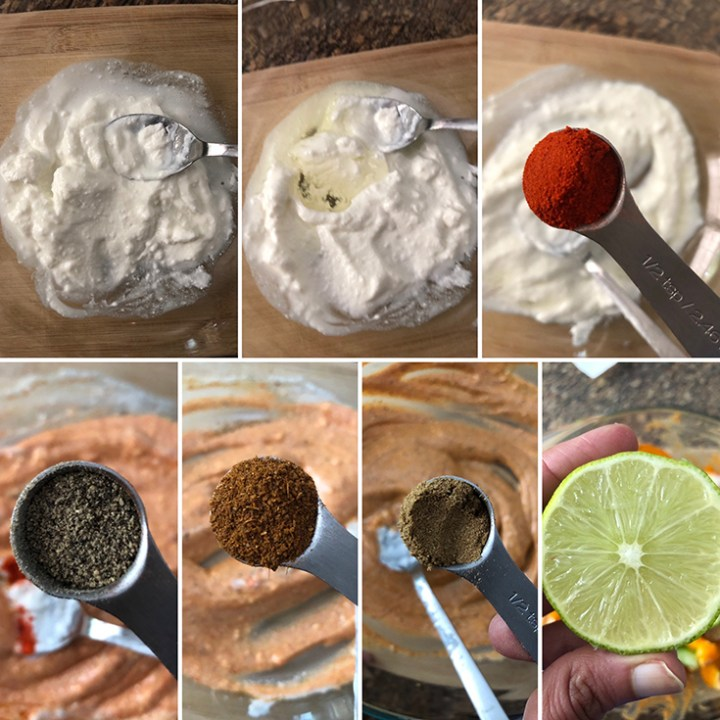 Photos showing the ingredients needed for marinade - non-dairy yogurt, oil, chili powder, pepper. garam masala, black pepper, lemon juice