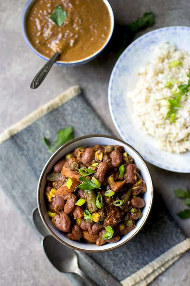 Beans & Veggies with Mole Sauce