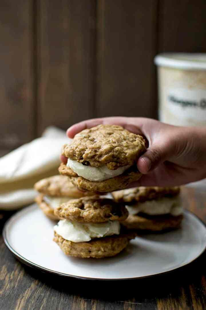 Vegan Oatmeal Raisin Cookies and Ice Cream Sandwich