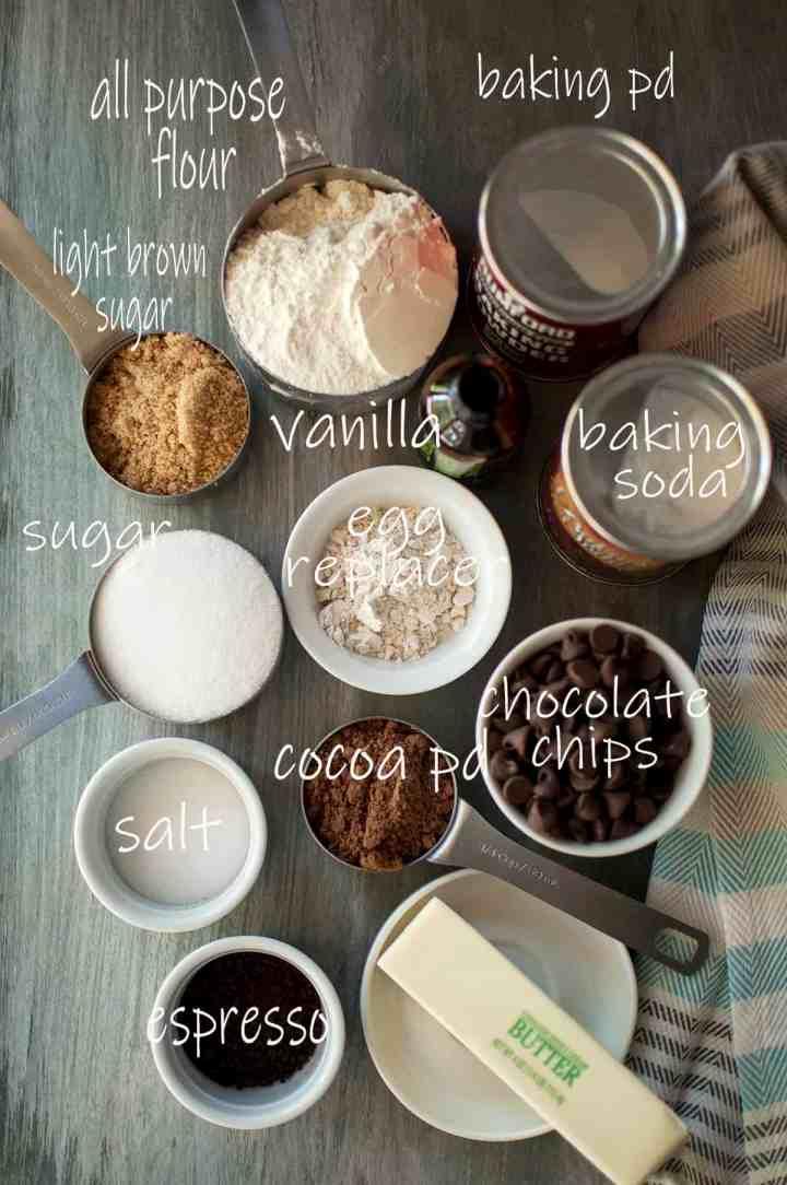 Ingredients needed - flour, sugar, salt, espresso, butter, cocoa powder, egg replacer, baking soda, baking powder, vanilla