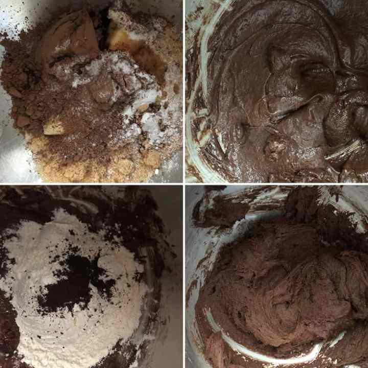 Step by step photos showing the making of dough - softened butter mixed with sugar, cocoa, flour, leaveners until smooth mixture forms