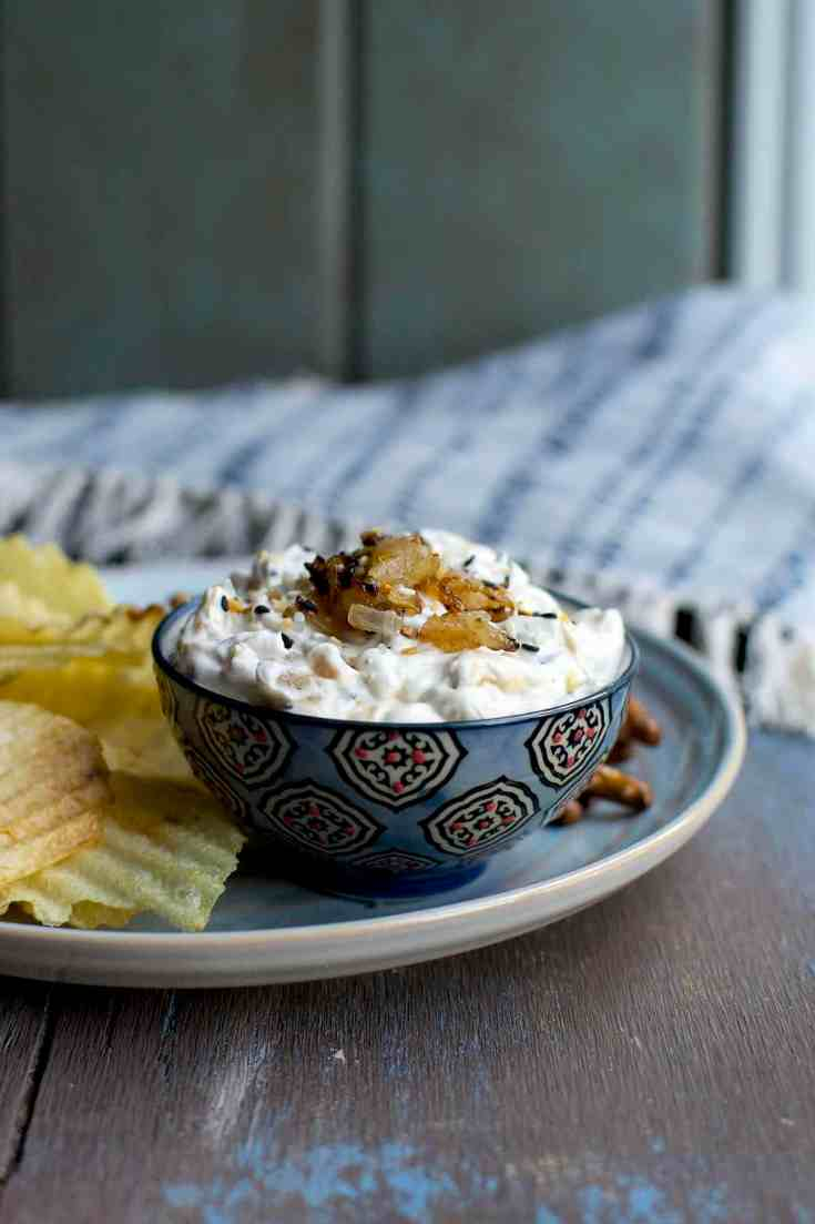 Onion Dip with Everything Bagel Seasoning