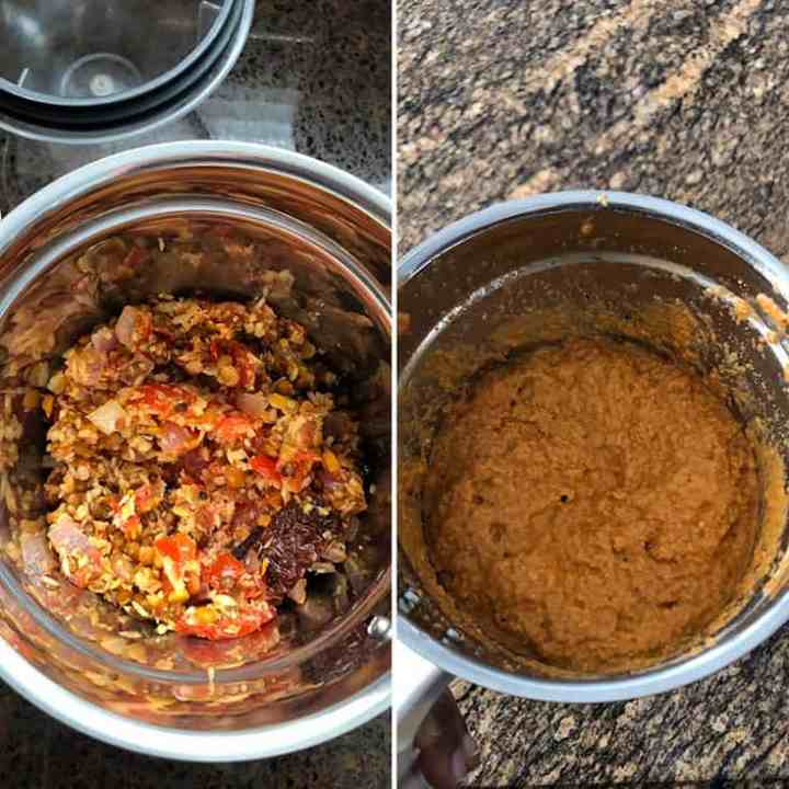 Step by step instructions to make spice paste for instant sambar