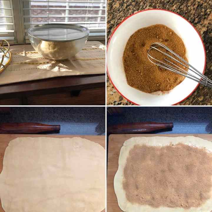 Step by Step photos of making dough and cinnamon filling