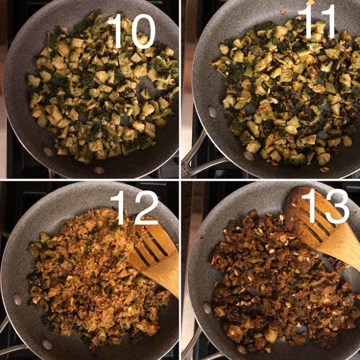 Step by step photos of the making of kakarakaya podi kura