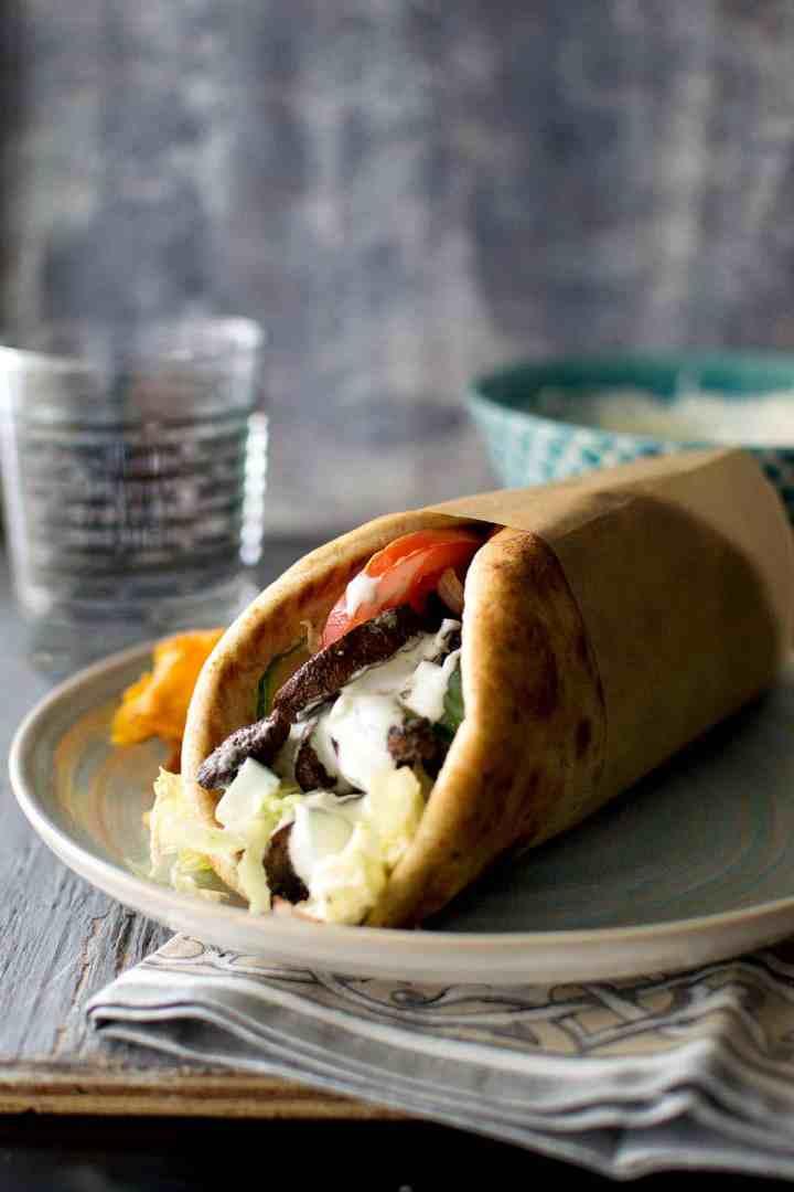 Grey plate with Greek Mushroom Gyro