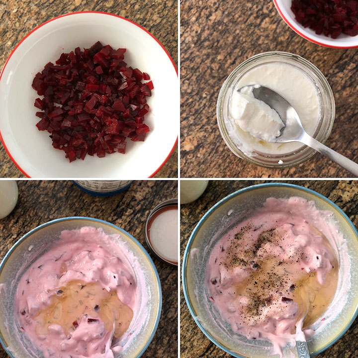 Step by step photos showing the making of beet dip
