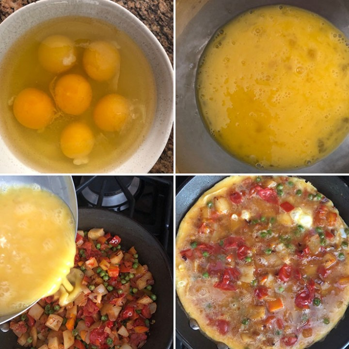 Step by step photos showing eggs, whisked, added to the skillet withe veggies and cooked until set