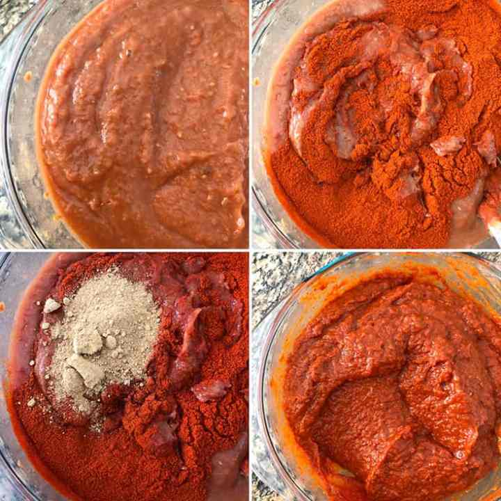 step by step photos showing the addition of chili powder, ground fenugreek powder to the ground  paste