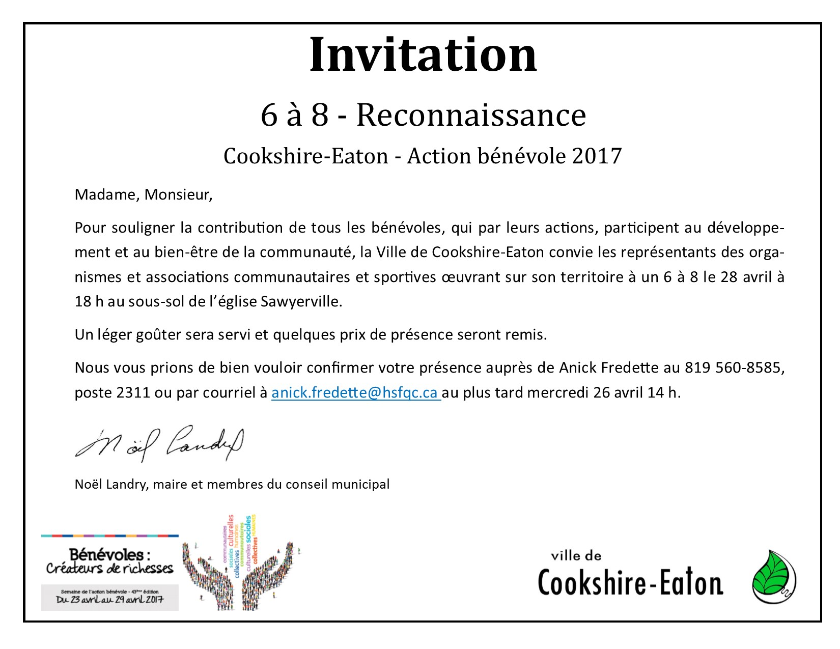 invitation soiree reconnaissance action