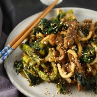 "Beef, broccoli and udon noodle stir fry from ""The Japanese Larder"" by Luiz Hara"