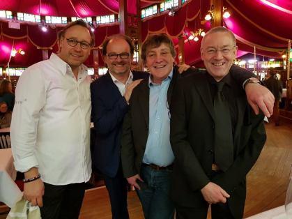 Das T hoch 3 - Team auf der 68. Berlinale im Gropius Mirror Restaurant. © Foto: Birgit Ellrott, 2018