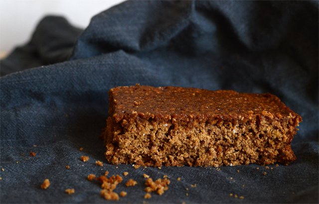 Parkin with dark grey napkin