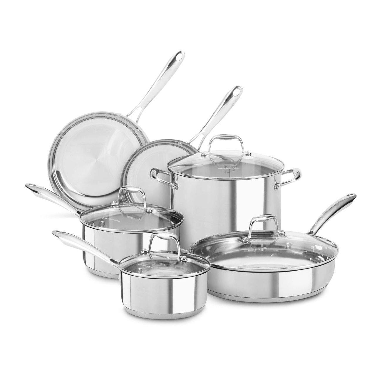 Kitchen Aid KCSS10LS Stainless Steel 10-Piece Cookware Set Review