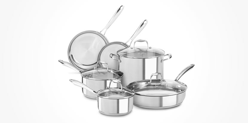 KitchenAid KCSS10LS Stainless Steel 10-Piece Cookware Set Review - best stainless steel cookware set Review
