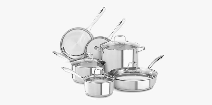 KitchenAid KCSS10LS, 10-Piece Cookware Set Review - Best Stainless Steel Cookware Sets