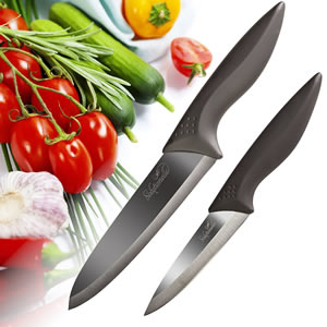 Solutionelle™ Chef and Paring Knives with Finish Blades 2-piece set Review- best ceramic kitchen knives set