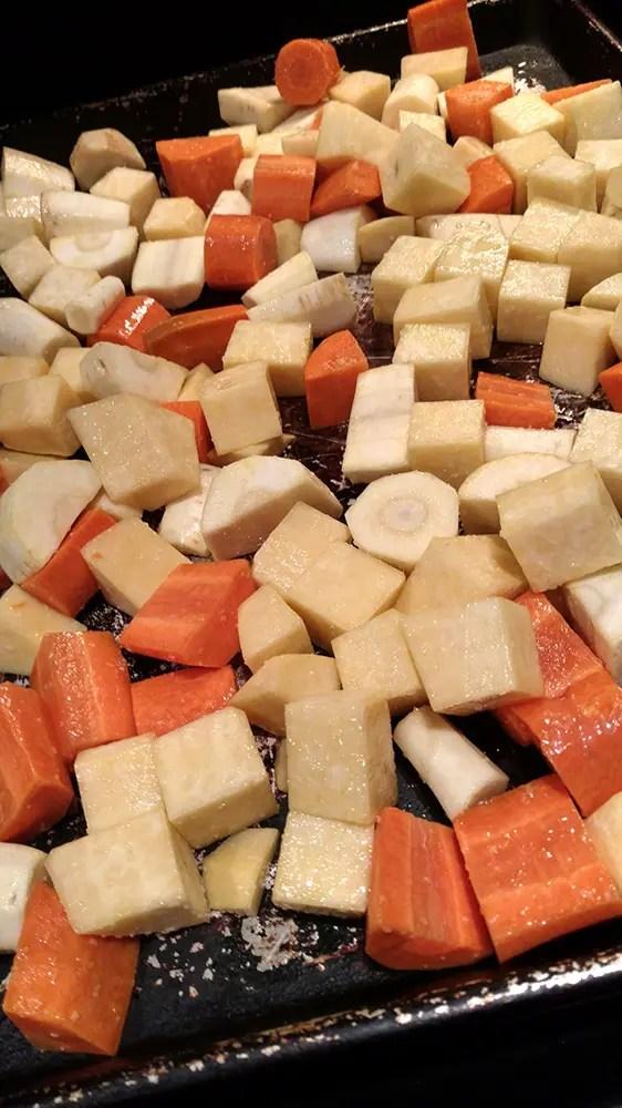 Root Vegetables on Pan