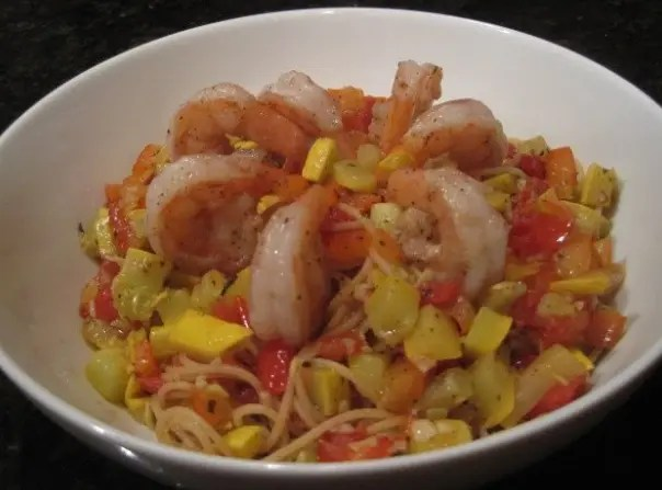 Shrimp Pasta with Tomatoes and Summer Squash