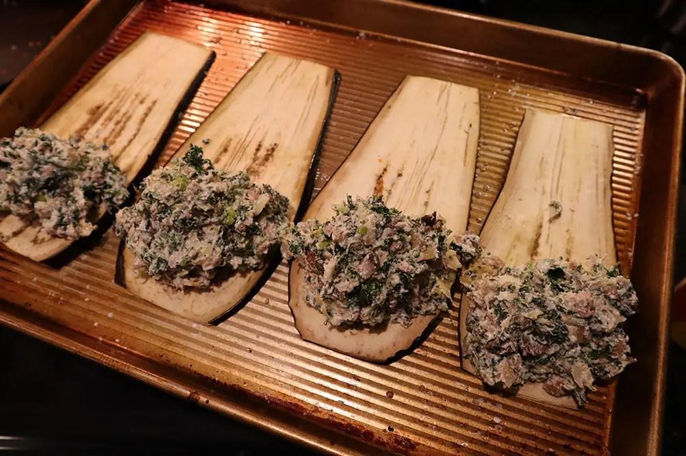 Stuffing Eggplant Rollatini