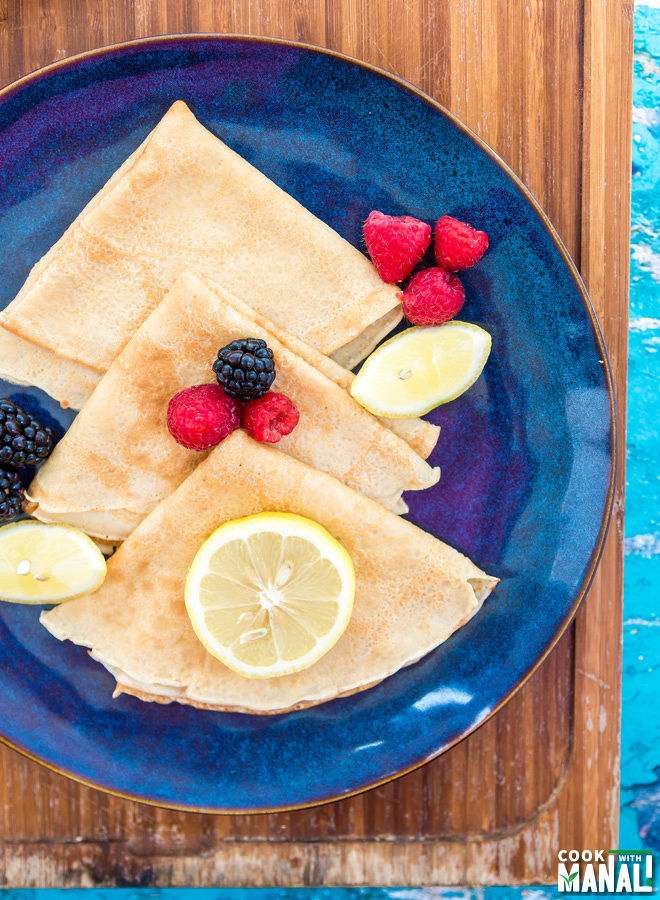 Lemon Crepes With Blackberry Sauce