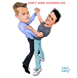Cool-Caricatures for publication- Joey and Chandler of friends