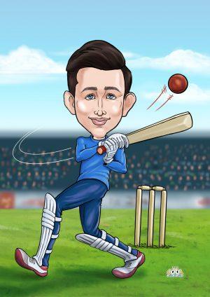 Cartoon drawing from photo as batsman present