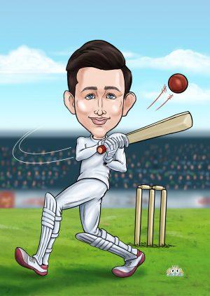 Batsman cartoon portrait from photos present