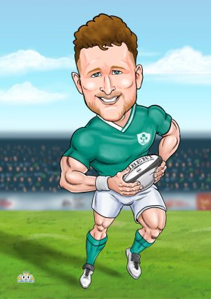 Irish rugby caricature gift for him