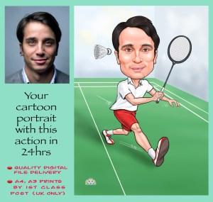badminton player caricature