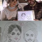 Indian couple's wedding caricatures