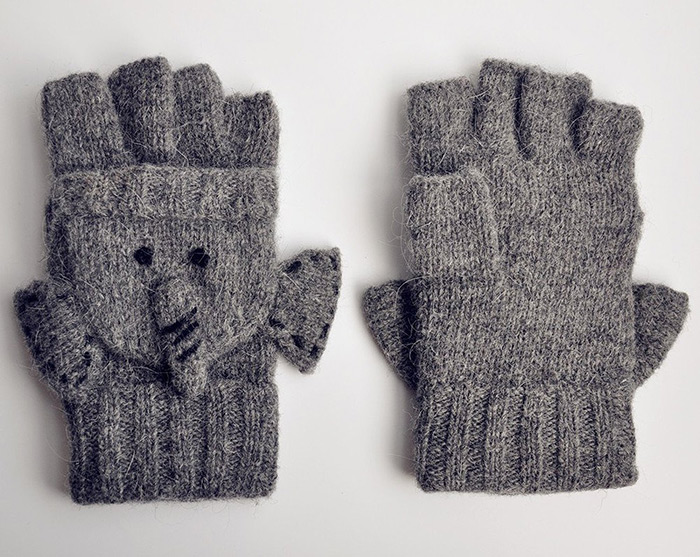 Cool Gift For Girls Elephant Knitted Gloves for Women