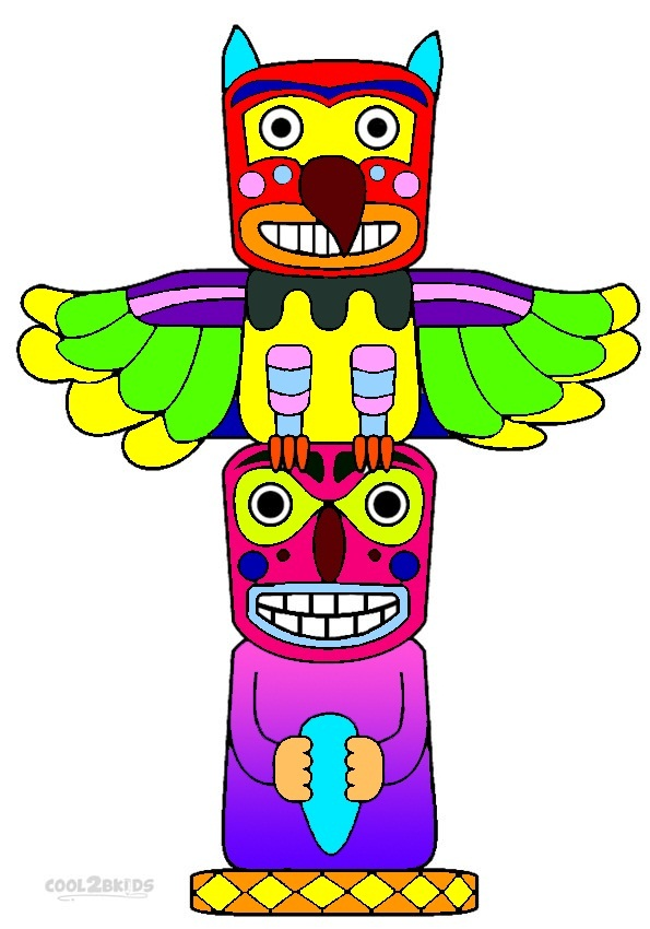 printable totem pole coloring pages for kids cool2bkids