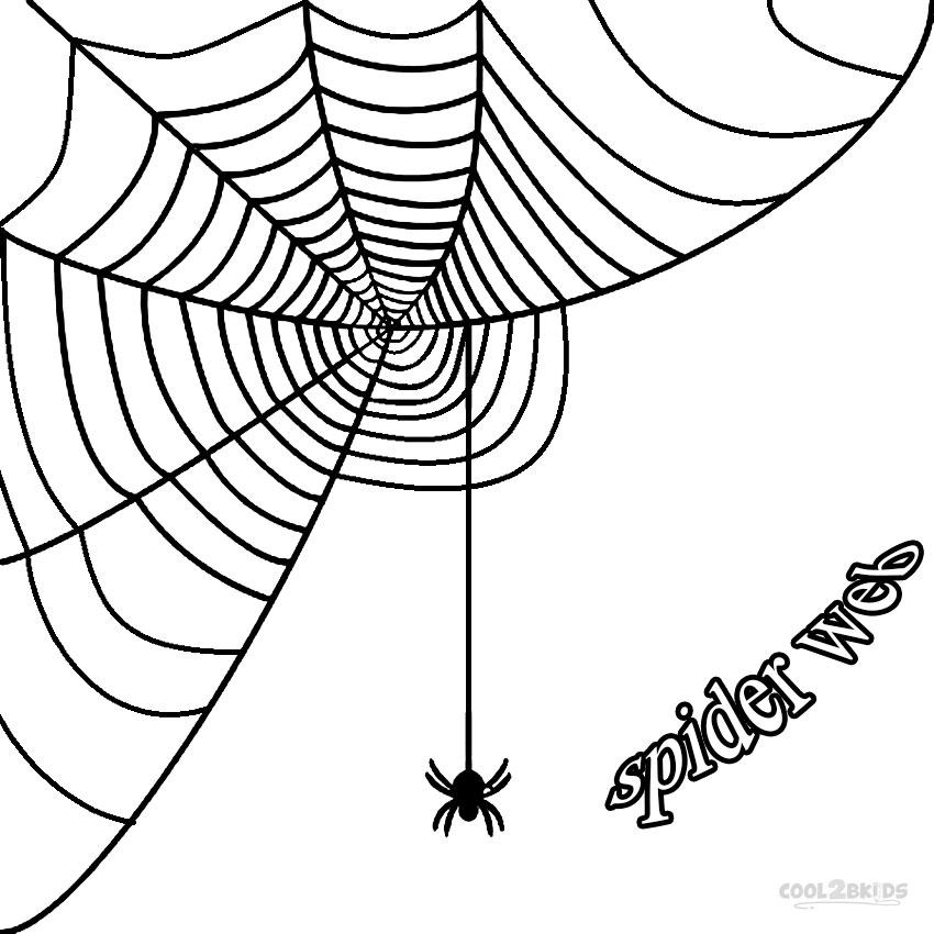 corner spider web coloring page