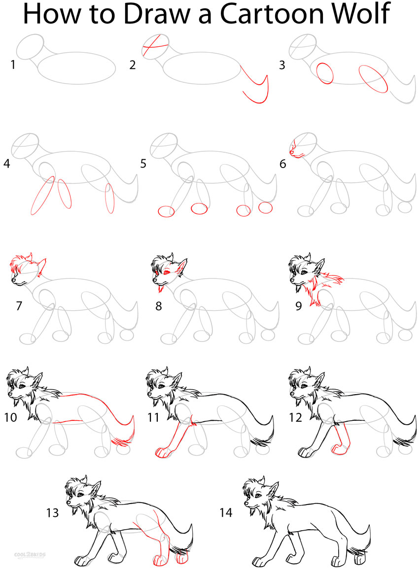 How To Draw A Cartoon Wolf Anime Step By Step Pictures