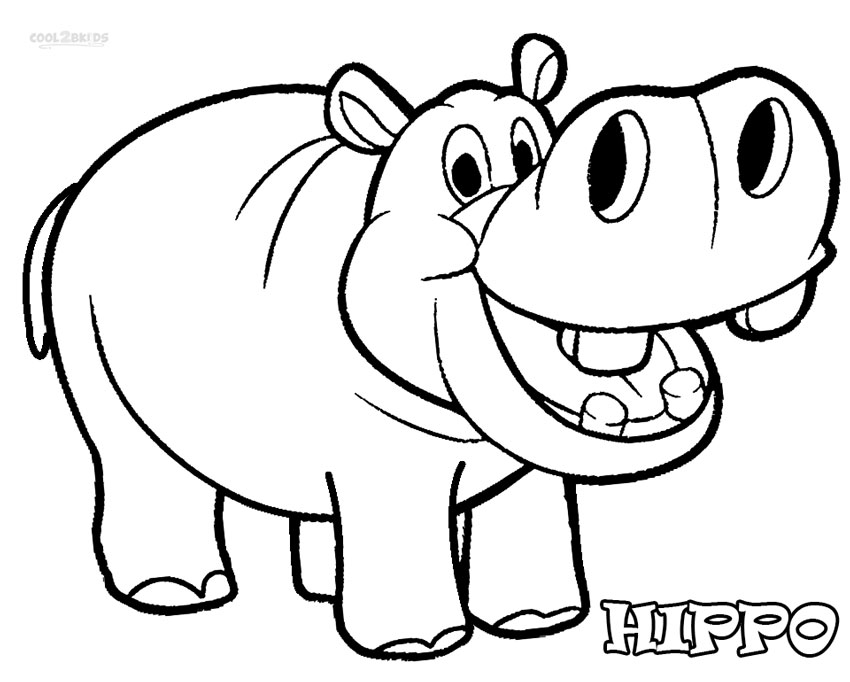 hippo face colouring pages page 3