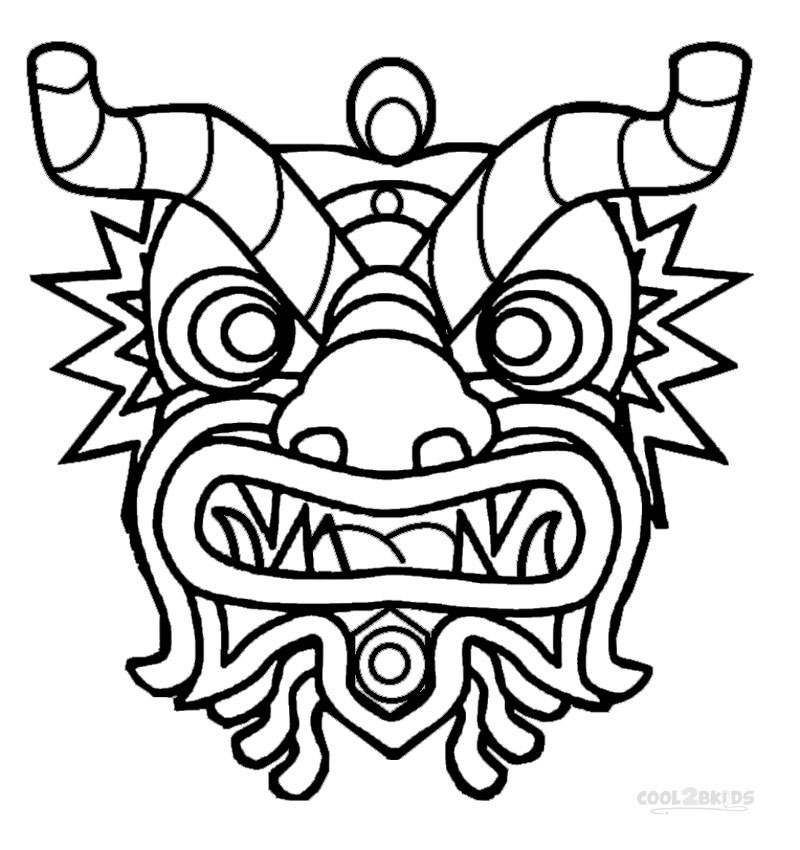 chinese dragon mask coloring pages cooloring com