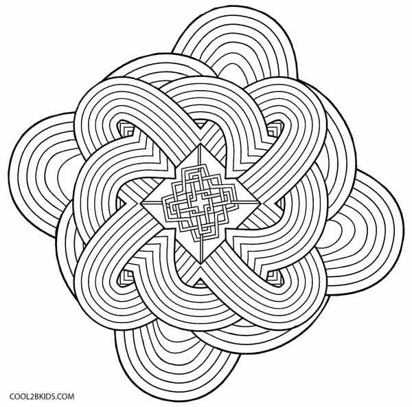 Printable Kaleidoscope Coloring For Kids Flower Math And ... | 592x600