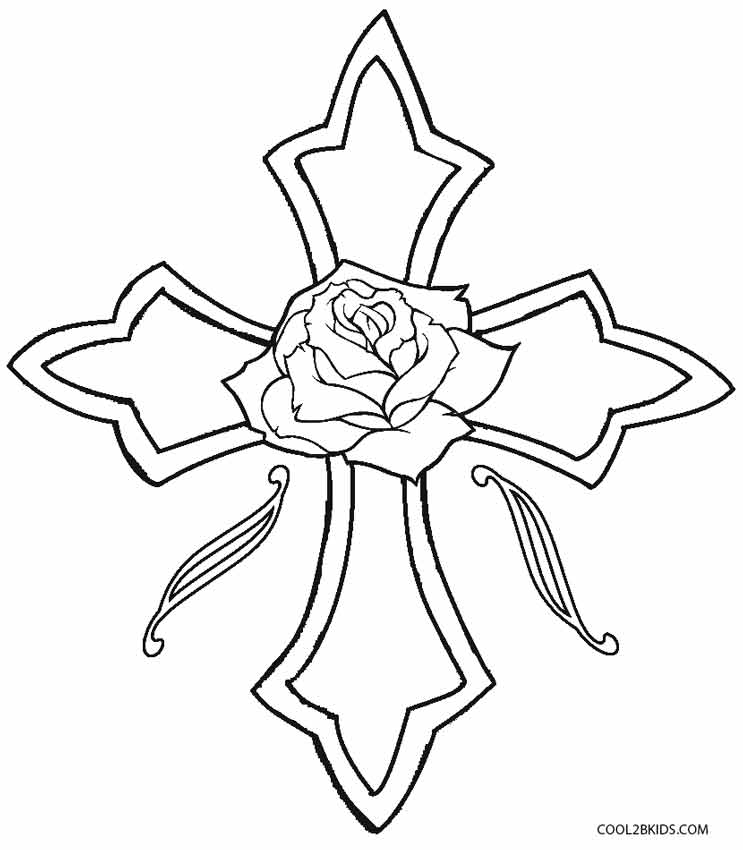 roses and cross coloring pages cooloring com