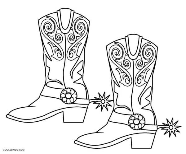 cowboy boots coloring pages # 5