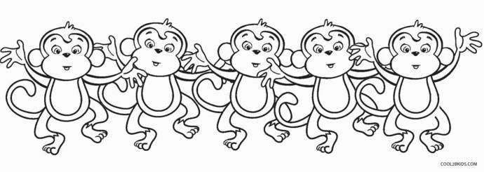 5 Little Monkeys Coloring Page