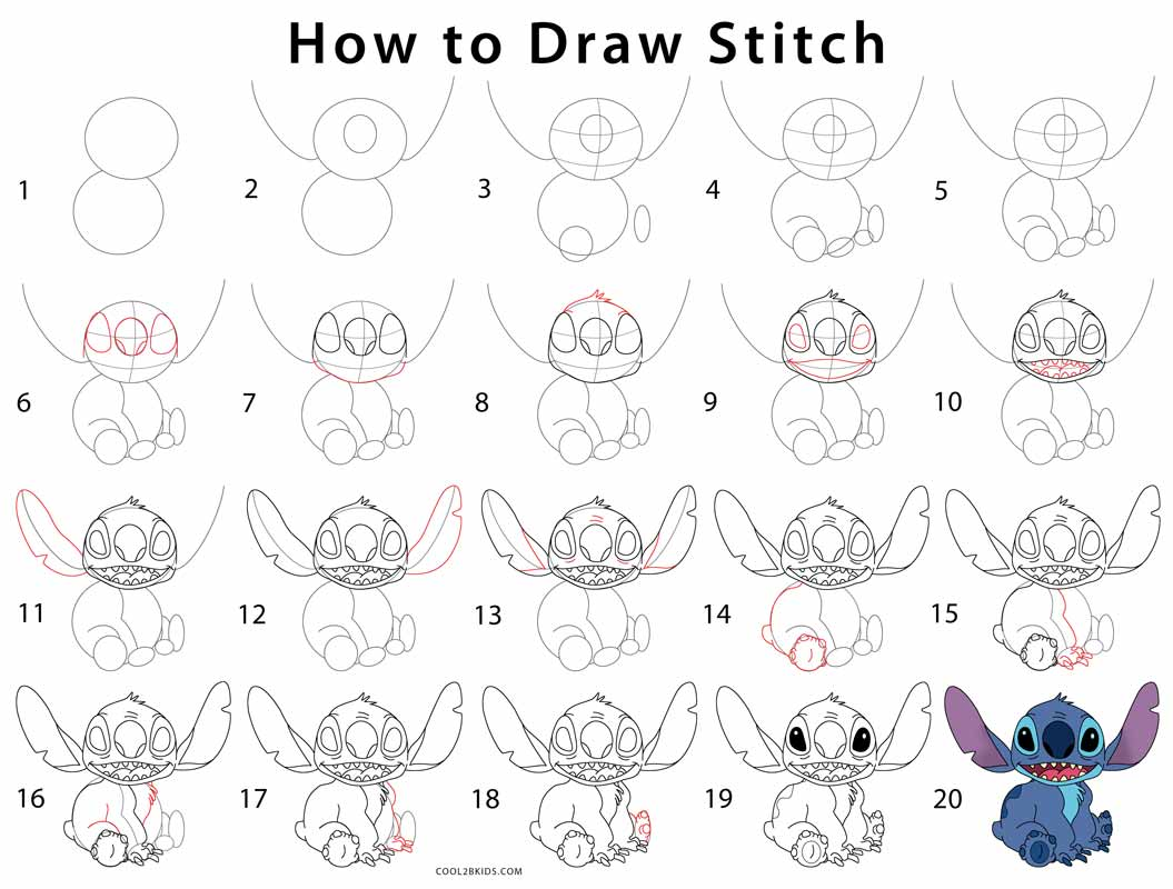 How To Draw Stitch Step By Step Pictures