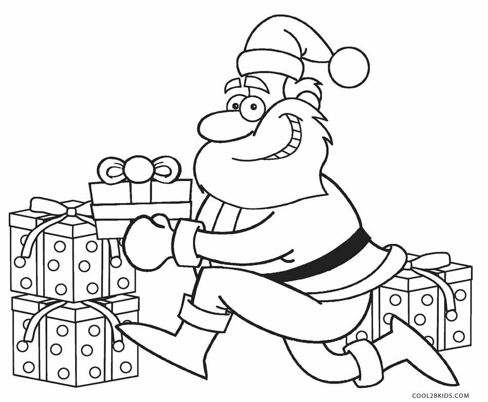 Santa Color Pages Sleigh S