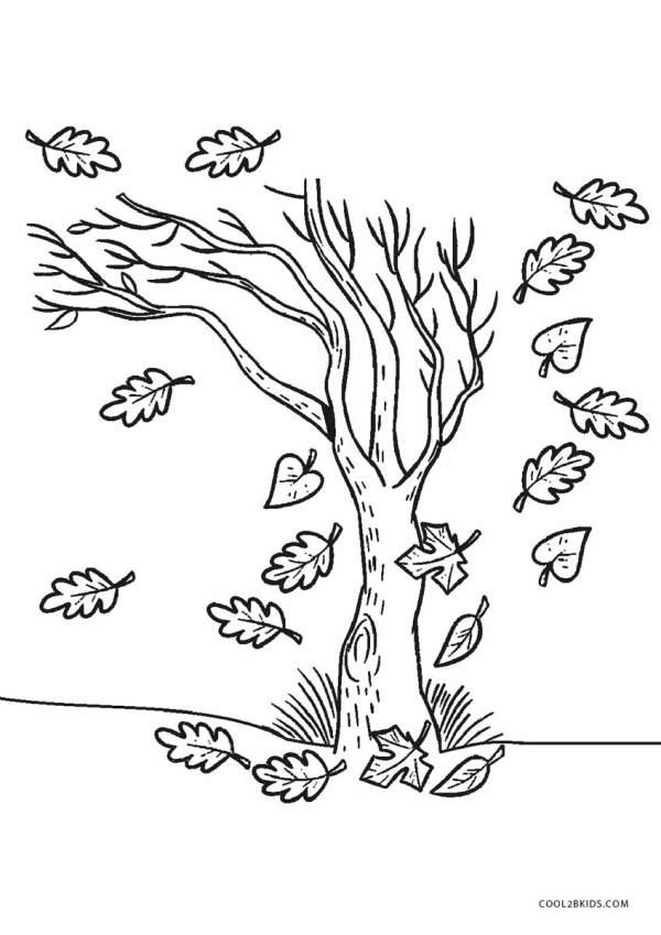 fall tree coloring page # 1