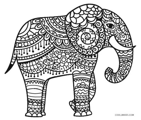 coloring pages of elephants # 4