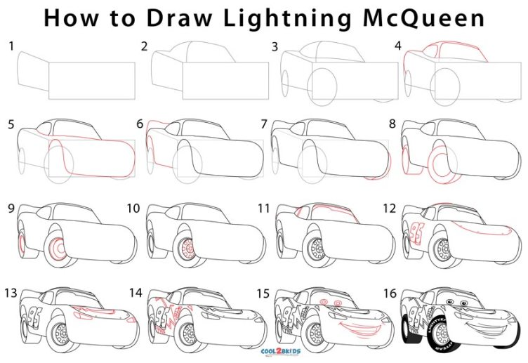 How to Draw Lightning McQueen (Step by Step Pictures)