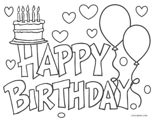coloring pages happy birthday # 4