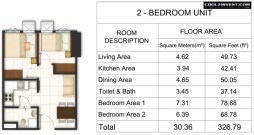 Trees Residences Unit Layout 2 Bedroom without Balcony